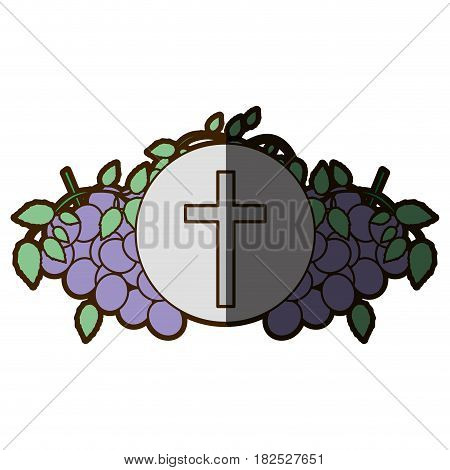 color background with communion religious icons of grapes and christian cross with half shadow vector illustration