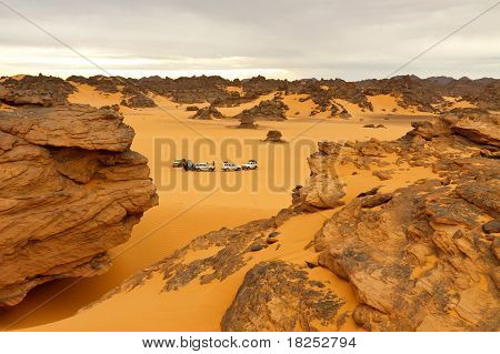 Camping In The Desert - Akakus (acacus) Mountains, Sahara, Libya