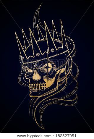 Graphic skull with fearful smile in the crown surrounded by smoke. Vector tattoo art