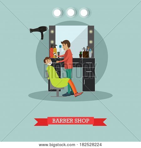 Vector illustration of barber shaving bearded man with straight razor. Barber shop flat style design element.