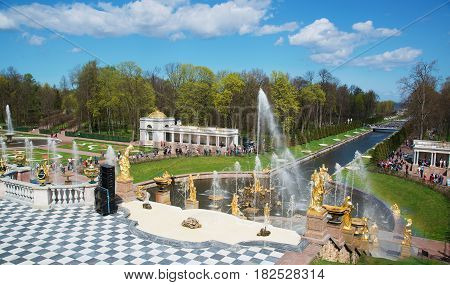 Grand Cascade Fountains At Palace garden, St. Petersburg. May 9, 2015.