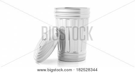 Trash Can On White Background. 3D Illustration