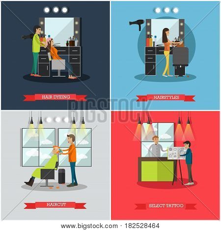 Vector set of hairdressing salon and tattoo parlor posters. Hair dyeing, Hairstyles, Haircut and Select tattoo flat style design elements.