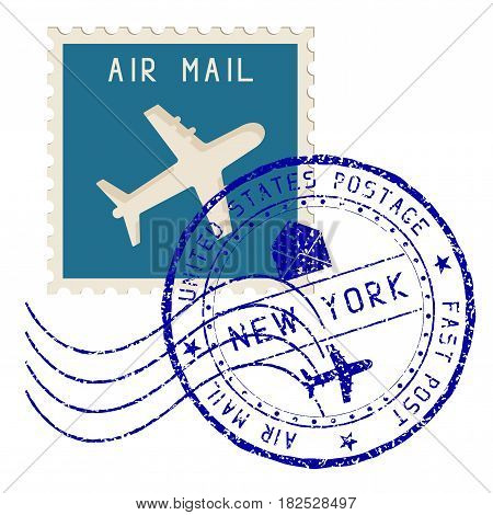 Air mail stamp. New York post round impress. Vector illustration isolated on white background