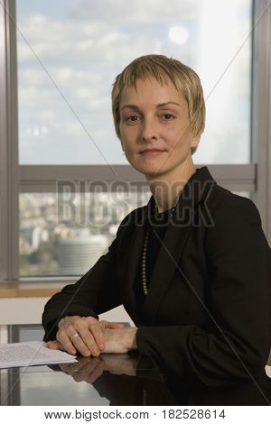 Businesswoman sitting at table