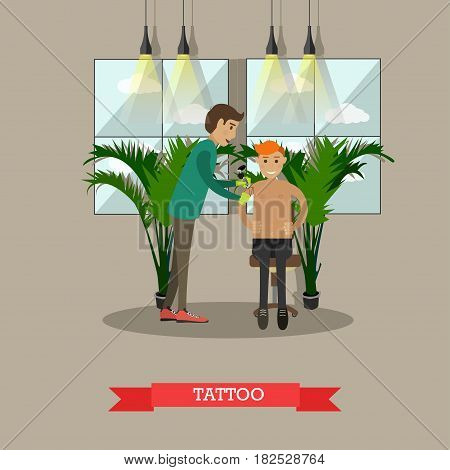 Vector illustration of professional tattoo artist making tattoo in tattoo studio. Flat style design.