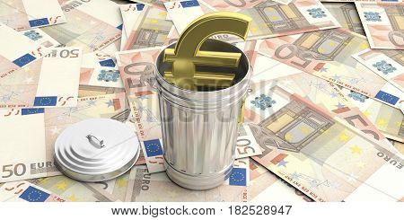 Steel Trash Can On Euro Banknotes Background. 3D Illustration