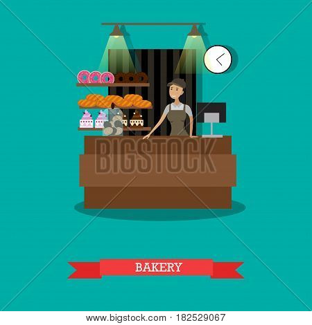 Vector illustration of saleswoman standing at counter. Bakery store concept design element in flat style.