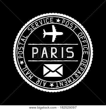 Paris mail stamp. Air mail postage service. Vector illustration on black background