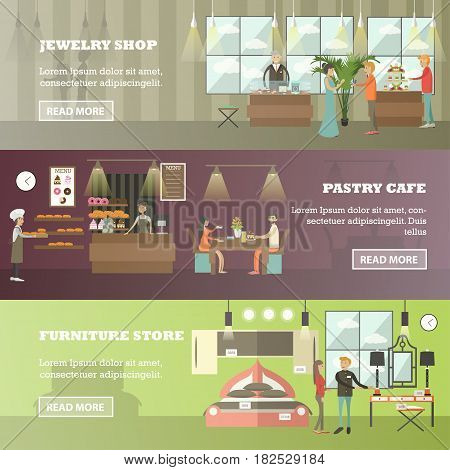 Vector set of shops horizontal banners. Jewelry shop, Pastry cafe and Furniture store flat style design elements.