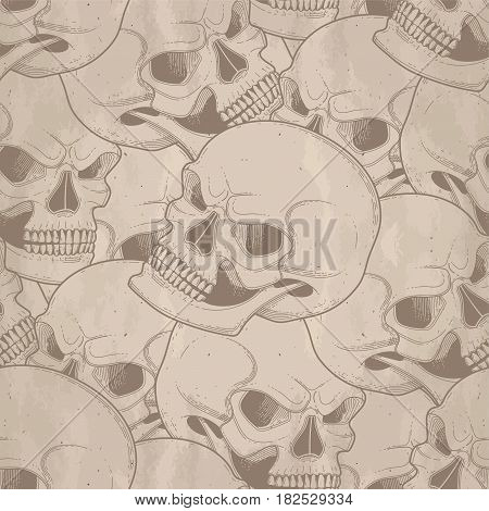 Graphic skull with fearful smile. Vector seamless pattern