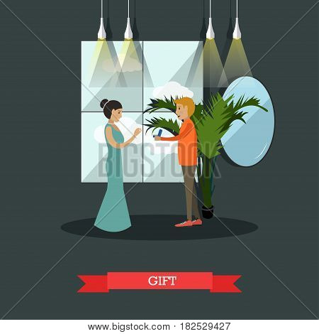 Vector illustration of happy loving couple. Young man giving a gift in jewelry box to his girlfriend. Flat style design.