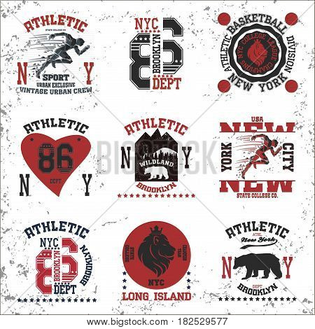 New york  typography fashion sport, t-shirt graphics - vector set