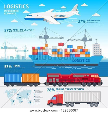 Logistics and transportation infographic elements flat vector illustration - stock graphic