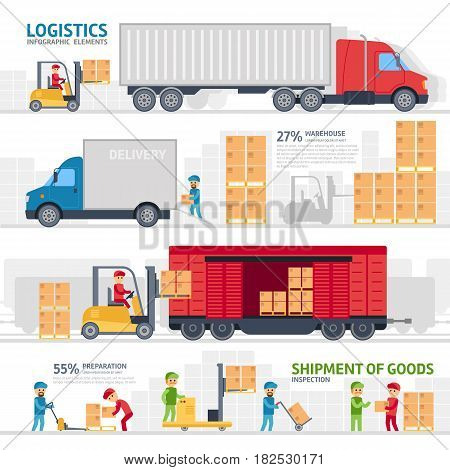 Logistic infographic elements set with transport, delivery, shipping, forklift truck in warehouse, storage loading cardboard boxes. Vector flat design.