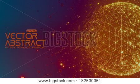 Abstract vector space colorful background. Chaotically connected points and polygons flying in space. Flying debris. Futuristic technology style. Elegant background for business presentations.