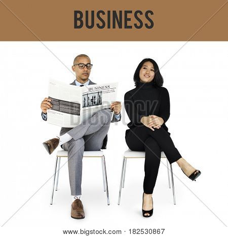 Diverse Business People Gesture Studio Isolated