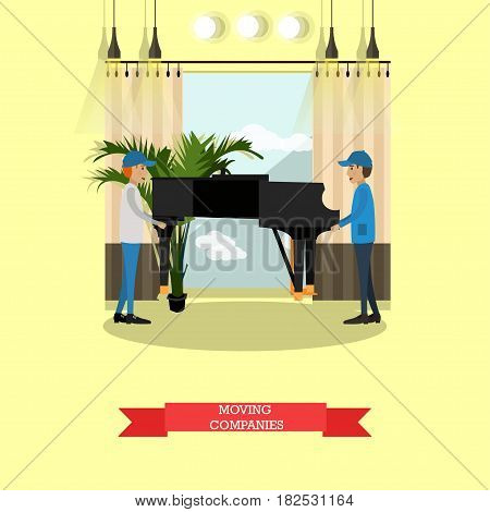 Vector illustration of loaders carrying piano. Moving company services concept flat style design element.