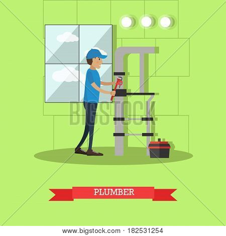 Vector illustration of pipe fitter fixing leaking water pipes with adjustable wrench. Plumber flat style design element.