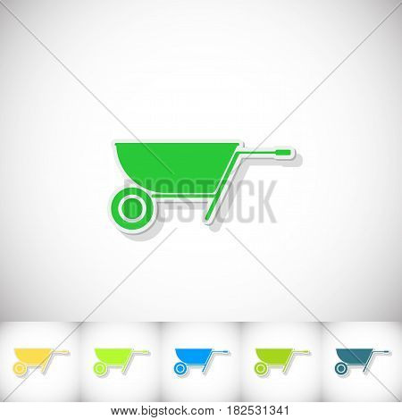 Wheelbarrow. Flat sticker with shadow on white background. Vector illustration