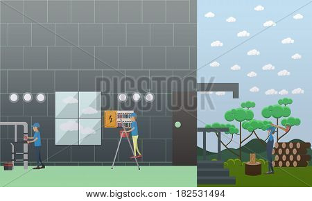 Vector illustration of pipe fitter fixing leaking water pipes, working electrician and woodcutter. Plumbing and electric company services flat style design elements.