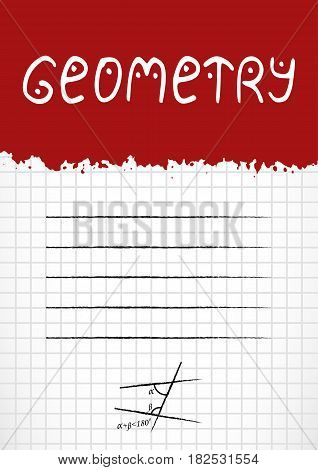 School notebook cover for school subjects in grunge style with splashes and stylized caption also label for signing on page of copybook in cage. Back to school in red and white. Vector illustration