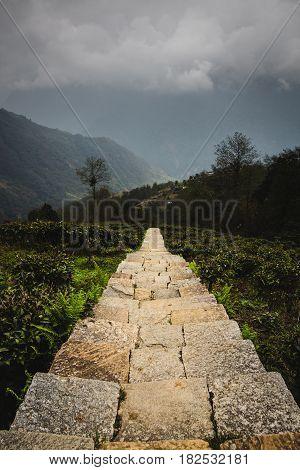 Trekking path made of stairs built using stone slabs in the Annapurna region close to Ghandruk village. Annapurna region Nepal.