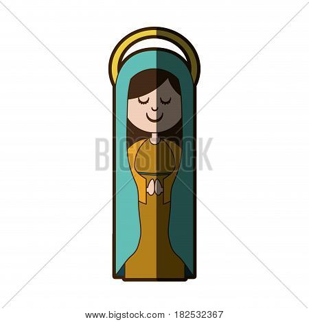 white background of virgin with blue mantle and aura with half shadow vector illustration