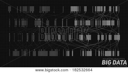 Big data grayscale visualization. Futuristic infographic. Information aesthetic design. Visual data complexity. Complex data threads graphic visualization. Social network, abstract data graph.