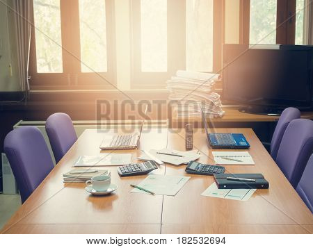 Business Concept Of Office Working, Business Background, Vintage Effect