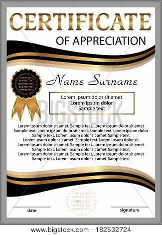 Template certificate of appreciation or diploma. Vertical background. Winning the competition. Reward. Vector illustration.