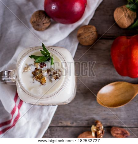Granola With Natural Yoghurt, Peaches And Nuts
