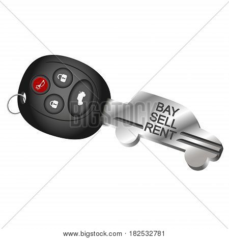 The symbol of a car key for the rental sale and purchase of cars
