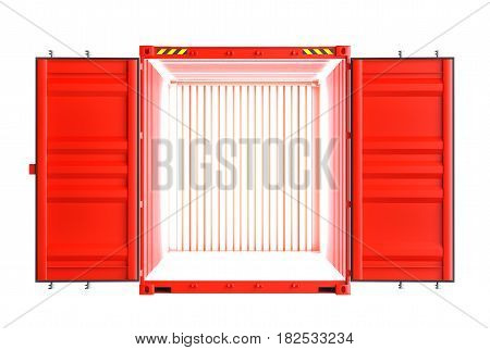 Red metallic open shipping container. Inside the container there is a bright light. Isolated on white background. 3d illustration