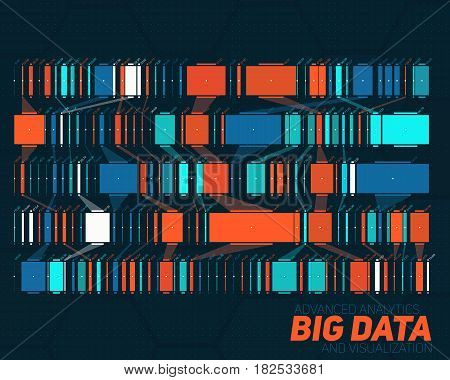 Big data colorful visualization. Futuristic infographic. Information aesthetic design. Visual data complexity. Complex data threads graphic visualization. Social network, abstract data graph.