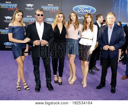 Frank, Sylvester Stallone, Scarlet, Sistine, Sophia and Jennifer Flavin at the Los Angeles premiere of 'Guardians Of The Galaxy Vol. 2' held at the Dolby Theatre in Hollywood, USA on April 19, 2017.