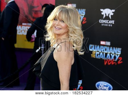 Goldie Hawn at the Los Angeles premiere of 'Guardians Of The Galaxy Vol. 2' held at the Dolby Theatre in Hollywood, USA on April 19, 2017.