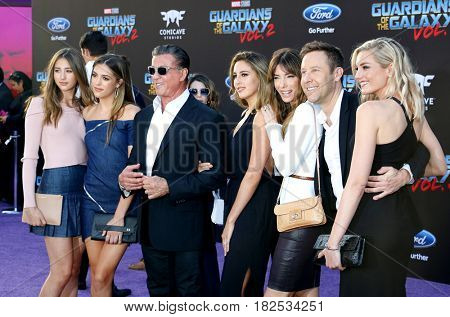 Sylvester Stallone, Scarlet, Sistine, Sophia, Jennifer Flavin, Michael Rosenbaum at the LA premiere of 'Guardians Of The Galaxy Vol. 2' held at the Dolby Theatre in Hollywood, USA on April 19, 2017.