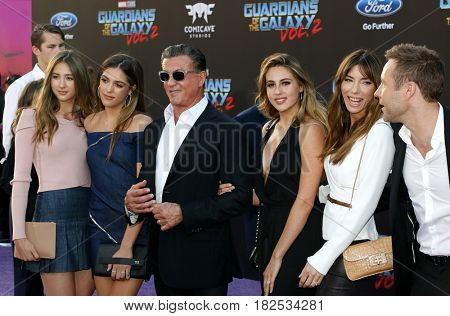 Sylvester Stallone, Scarlet, Sistine, Sophia, Jennifer Flavin and Michael Rosenbaum at the LA premiere of 'Guardians Of The Galaxy Vol 2' held at the Dolby Theatre in Hollywood, USA on April 19, 2017.