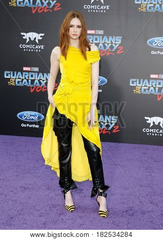 Karen Gillan at the Los Angeles premiere of 'Guardians Of The Galaxy Vol. 2' held at the Dolby Theatre in Hollywood, USA on April 19, 2017.