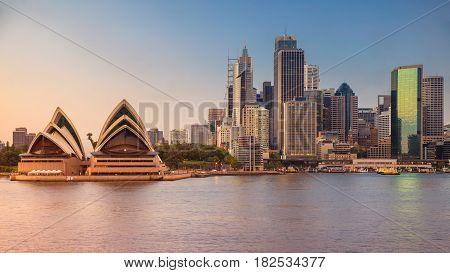 Sydney Skyline. Cityscape image of Sydney, Australia during sunrise.