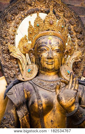 Close up of the statue of the river goddess Ganga standing on a Makara at Mul Chowk Royal Palace in Patan Nepal. The Ganga river is a holy river for Hindus.