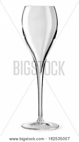 Empty glass for champagne isolated on white background with clipping path.