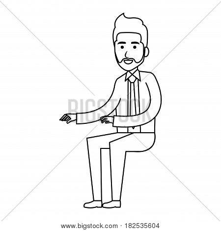 businessman doing seated pose vector illustration design