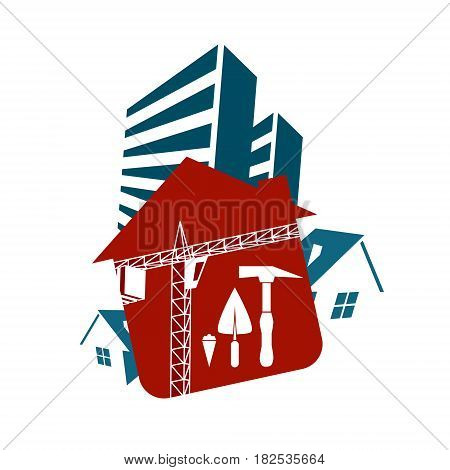 Construction and sale of housing vector design