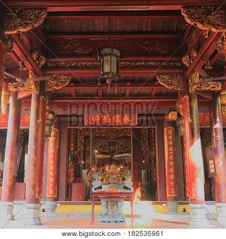 HANOI VIETNAM - NOVEMBER 23, 2016: Bach Ma temple in Old Quarter