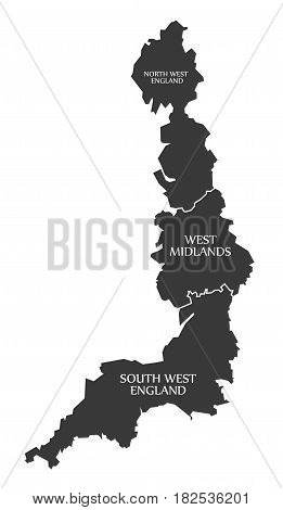 West Coast Of England With North West England - West Midlands - South West England Map Uk Illustrati