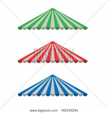 Awning canopy for shops, cafes and street restaurants. Striped sunshade