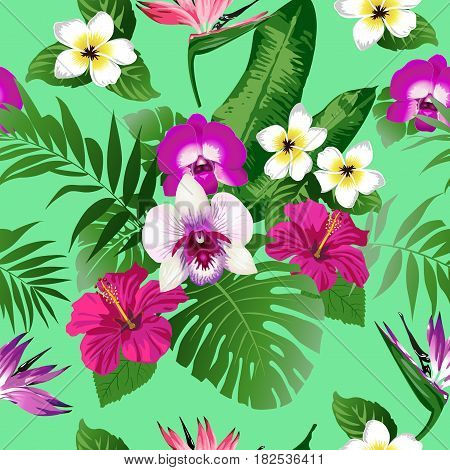 Tropical flowers and leaves on background. Seamless. Vector.