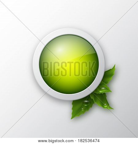 Ecology web push button icon with realistic leaves and water drop. Vector illustration.